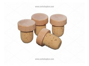 a9df4a89714 Stoppers with Wood cap and Cork stem - Barnacork